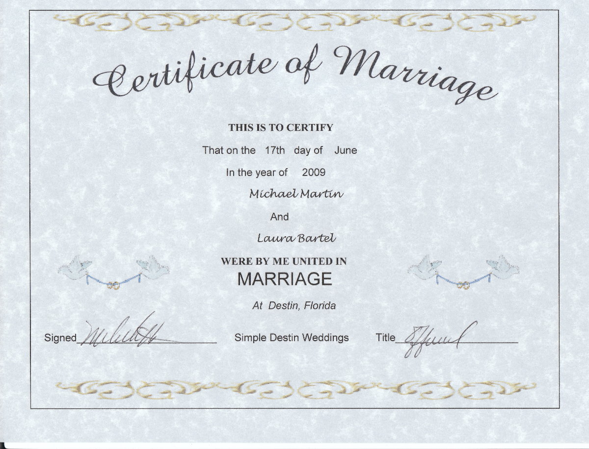 Simple destin weddings pricing info keepsake marriage certificate alramifo Image collections